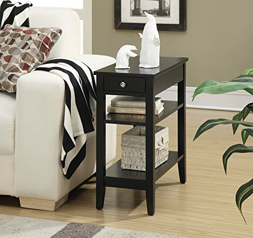 Convenience Concepts American Heritage 3-Tier End Table with Drawer, Black (Bedroom Black Tables End)