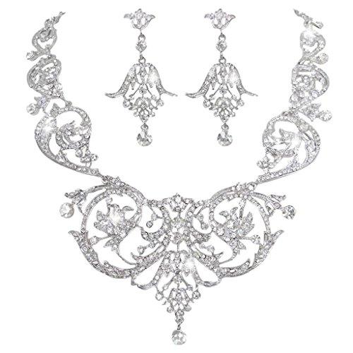 Faith Ring Necklace (EVER FAITH Bridal Silver-Tone Art Deco Flower Leaf Necklace Earrings Set Clear Austrian Crystal)