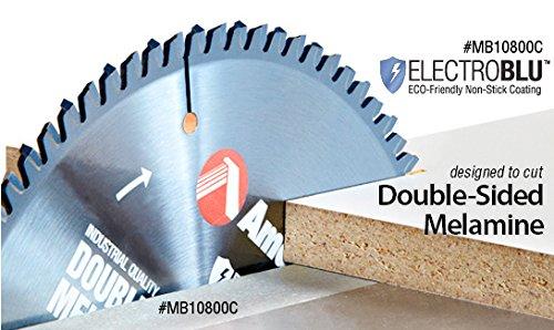 Amana Tool MB10800C Electro-Blu Carbide Tipped Double-Face Melamine 10 Inch D x 80T H-ATB, -6 Deg, 5/8 Bore, Non-Stick Coated Circular Saw Blade