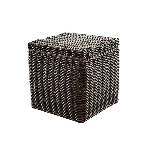- Abington Lane Square Water Hyacinth Storage Basket Bin - Indoor/Outdoor Decorative Storage Perfect Size Stores Blankets, Pillows, Towels, Pool Toys for Summer Swim Parties (Dark Brown)