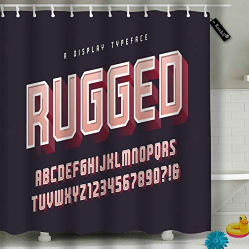 Randell Decor Shower Curtain Set Rugged Stylish Display Typeface Font Uppercase Numbers Alphabet Glo 72