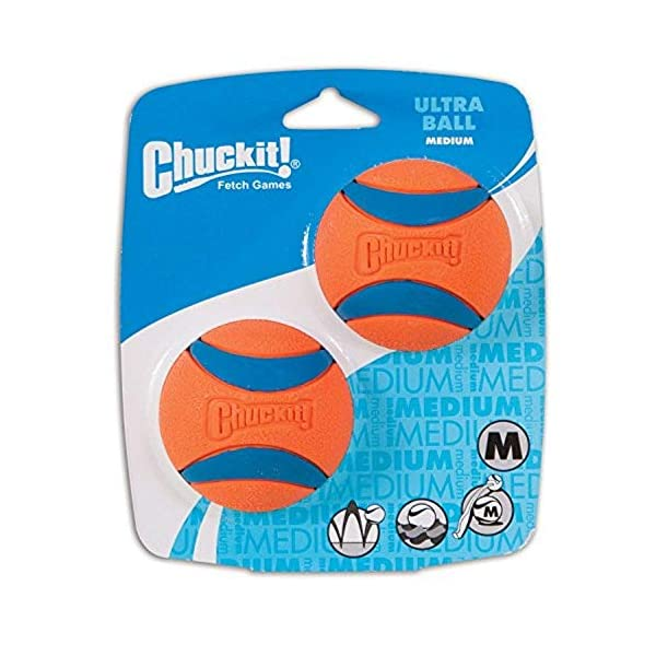Chuckit Ultra Ball, Durable High Bounce Rubber, Launcher Compatible, 2 Pack, Small 3