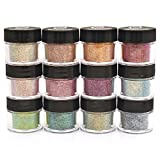 Cosmetic Fine Mixed Glitter Powder Kit (12 PK)- Safe for eyeshadow, make up, body and nails.