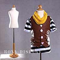 (JF-C6-8T) ROXY DISPLAY Child Body Form 6~8 years old, white jersey form cover, w/ wooden base