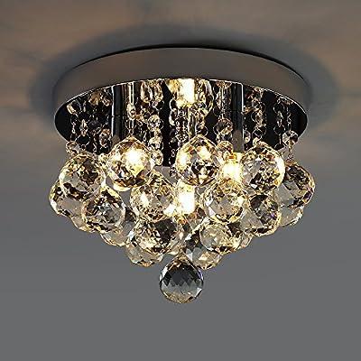 Kusun Modern LED Crystal Ceiling Light Flushmount Chandelier Lighting (3 x 3W LED G9) for Study Room, Dining Room, Bedroom, Living Room KS005-3