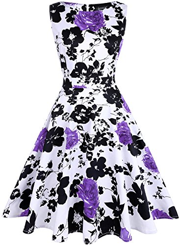 OTEN Women's Vintage Tea Dress Sleeveless Floral 1950s Cocktail Dressing, Large, White+Purple Floral