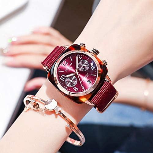 Pan 工業用女性の腕時計グリーントーンケース、ギア中空ダイヤル、キャンバスストラップ付きの女性の腕時計、防水アナログガール腕時計 (色 : 赤)
