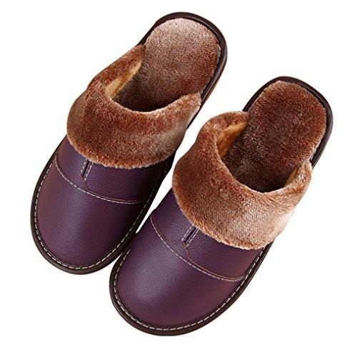Cattior Womens Fur Lined Comfy Indoor Outdoor Ladies Slippers Leather Slippers Purple jpraA0PDG3