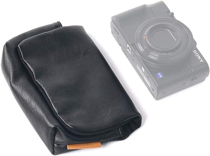 SONY VLOGCAM ZV-1 用 インナー ケース SONY ZV1 用 バッグ ORMY レザー製 デジカメケース デジタルカメラバッグ 【SONY DSC-RX100M7 / FUJIFILM XF10 / G7 X Mark IIIなども収納可能】 (ブラック)