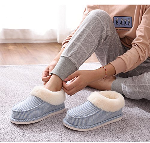 Blue House Dark and Plush Slippers Knit Slip For Lining Women Indoor Pinstripe Anti With Bootie Men Moodeng Sole and Outdoor Furry qB4RdwxqF