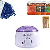 Wax Heater Machine Waxing Kit Heater Wax Pot Hair Removal Hot Wax Bean Stick Machine Kit (White)
