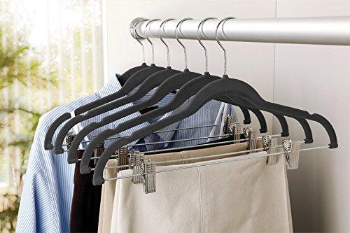 Karen Rhodes Black 6 Pack Velvet Suit Hanger with Metal (Velvet Metal)