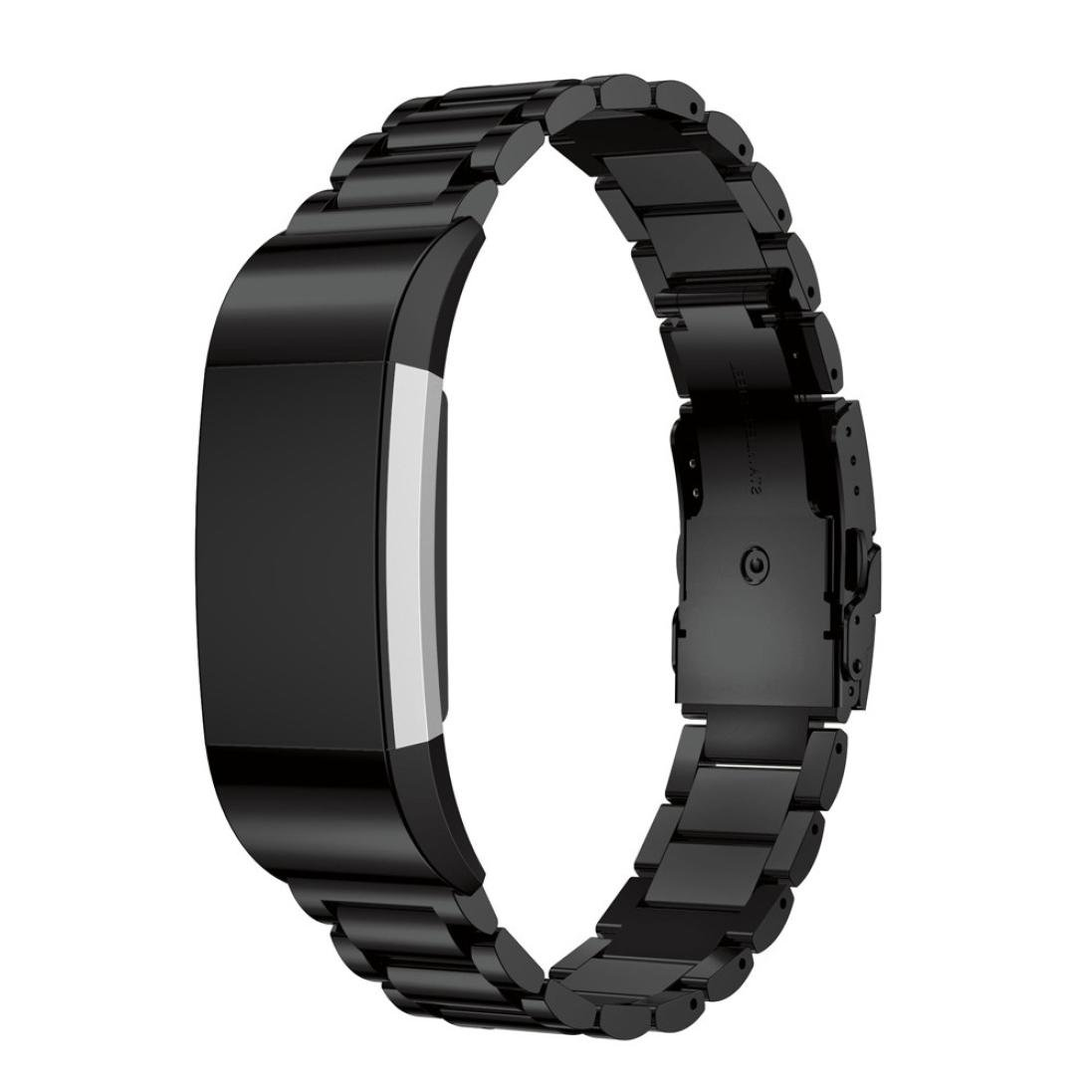 Odeer for Fitbit Charge 2 Stainless Steel Bracelet Smart Watch Band Strap (Black)