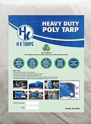 Light Duty Reinforced Tarpaulin All Purpose Canopy Poly Tarps 3Oz 6 Mil - White/Black (30' X 60' Feet) by H K Tarps
