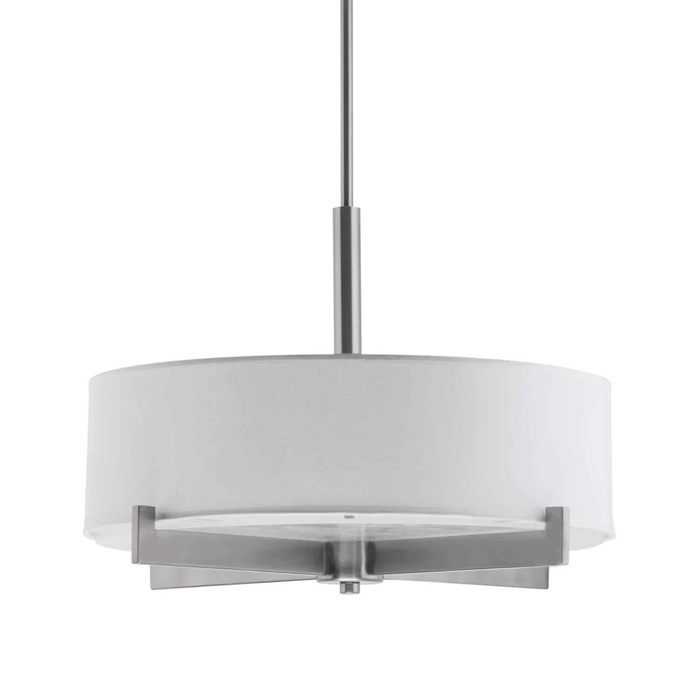 Allegro Drum Pendant Ceiling Light – Brushed Nickel w/Fabric Shade - LL-C134-BN