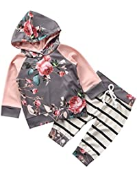 Baby Girls Clothes Set 2PCS Long Sleeve Floral Hoodies...