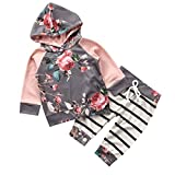 Baby Girls Clothes Set 2PCS Long Sleeve Floral Hoodies Sweatshirt Top+Drawstring Striped Pants 2pcs Outfits (1-2 Years, A)