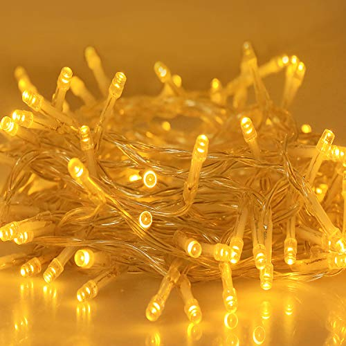 Aluan Christmas Lights String Lights 100 LED 33ft+10ft 8 Modes Plug in Indoor String Lights 31V Waterproof Fairy Lights Home Garden Party Wedding Christmas Tree Bedroom Window Curtain Wall Decoration