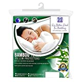 2 Pack Bamboo Terry Premium Pillow Protectors, 100% Waterpoof, Zippered Encasement Case, Antimicrobial, Hypoallergenic Pillow Covers, Dust Mite, Bed Bug Proof, Eco-Friendly Bedding, King Size