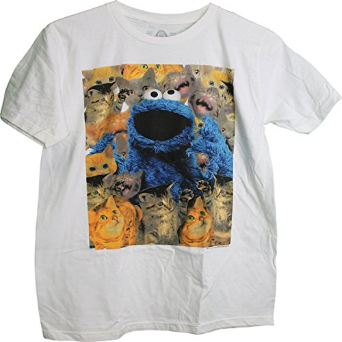 Sesame Street Cookie Monster Surrounded by cats Adult T-Shirt -