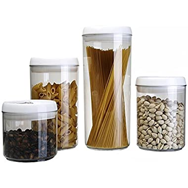 Aojia 4-piece Round Transparent Plastic Food Containers Set 0.4l+0.75l+0.75l+1.1l Capacity, QYF0227-1