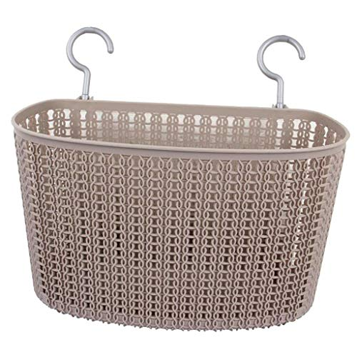 (MOPOLIS Household Kitchen Bowl Plate Storage Basket Plastic Rectangle Wall Hook Box   Color - Khaki)