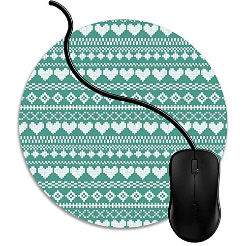 Mouse Pad Gaming Green Fair Isle Hearts, Premium-Textured Surface, Non-Slip Rubber Base, Laser Optical Mouse Compatible, Mouse mat 1J4039