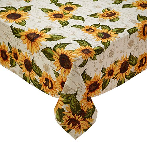 Design Imports DII Rustic Sunflower Table Linens - Fall - Autumn - Thanksgiving (52x52 inch ()