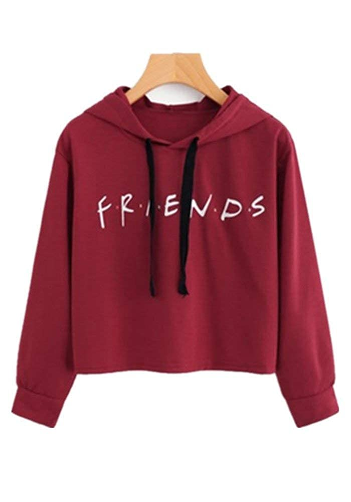 4caebefc457 Womens Friends Hoodies, Crop Top Sweatshirt Athletic Hooded Pullover at  Amazon Women's Clothing store: