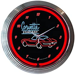 Corvette Sting Ray Neon Clock