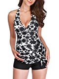 Zando Women Two Piece Maternity Swimsuit Halter Maternity Tankini Swimsuits Plus Size Swimwear Pregnancy Beach Bathing Suit Printed Pregnant Tankini Beachwear 2 Piece Floral Black Large (US 8-10)