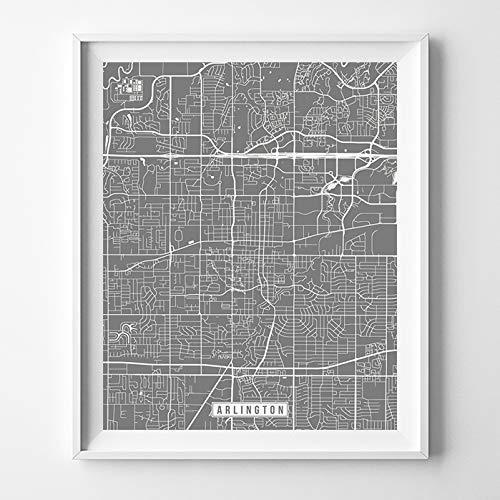 Amazoncom Arlington Texas Map Print Street Poster City Road Wall