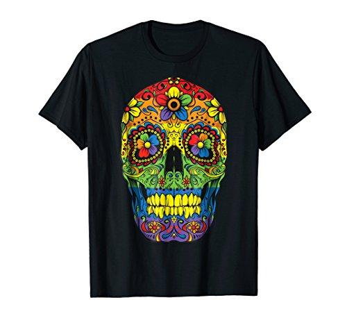 Sugar Skull Gay Pride LGBT Rainbow Flag T shirt Lesbian Gift -