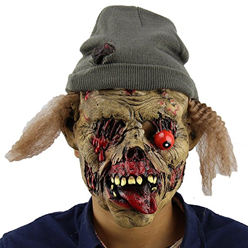 Halloween Disgusting Face Zombies Mask, Props Cosplay Terror Head Mask Full Face Latex Clown Mask with Hair -