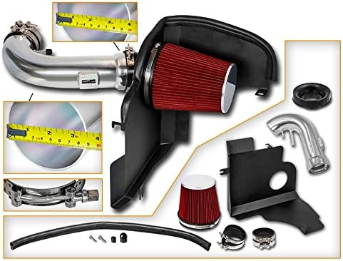 Filter Combo RED Compatible For 11-14 Ford Mustang 5.0L V8 Cold Air Intake System with Heat Shield Kit