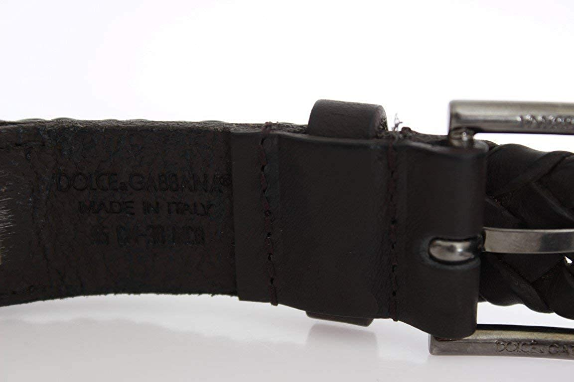 Dolce /& Gabbana Brown Leather Woven Belt