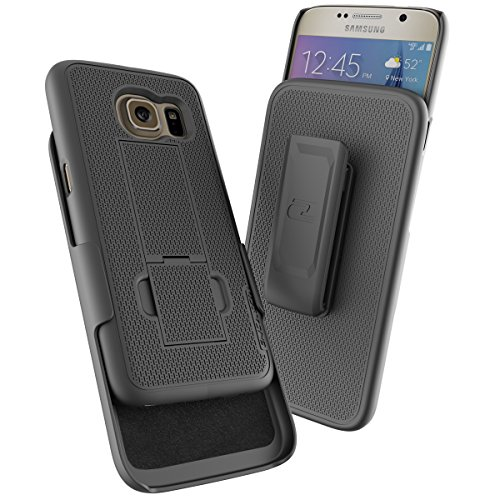Samsung Galaxy S7 (Ultra Thin) Belt Case & Holster Clip w/KickstandEncased Ultra Slim GripShell for Samsung Galaxy S7 [New 2016 Release] (Black)
