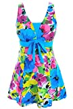 AONTUS Womens Zip Front Printed Half Sleeve/Long Sleeve One Piece Swimsuit Swimwear XL(US 14-16)