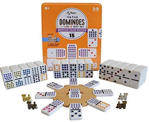 Train Mexican Set - Regal Games Double 15 Mexican Train Dominoes with Wooden Hub and Metal Trains