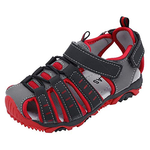 Boys Girls Breathable Athletic Sandals,ONLY TOP Summer Sport Sandals Beach Water Closed-Toe Outdoor Athletic Shoes Red (Looks Like A Pump Feels Like A Sneaker)
