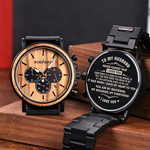 BOBO BIRD Mens Personalized Engraved Wooden Watche, Stylish Wood & Stainless Steel Combined Quartz Casual Wristwatches for Men Family Friends Customized Gift (A-for Husband)