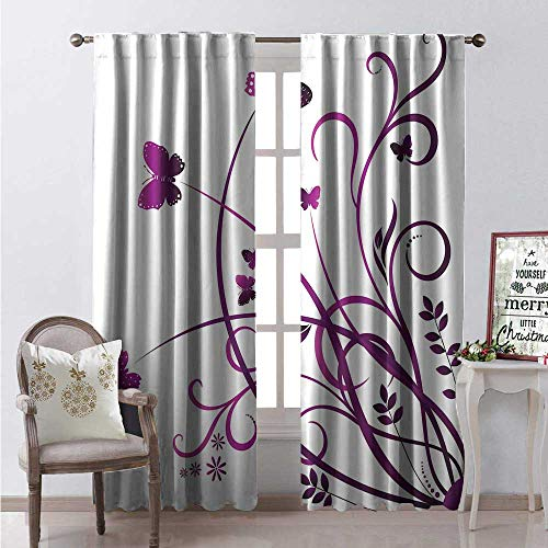 Hengshu Purple Butterfly Window Curtain Fabric Fictional Abstract Flying Swallowtails and Swirling Wild Herb Leaves Drapes for Living Room W84 x L84 Purple and Plum