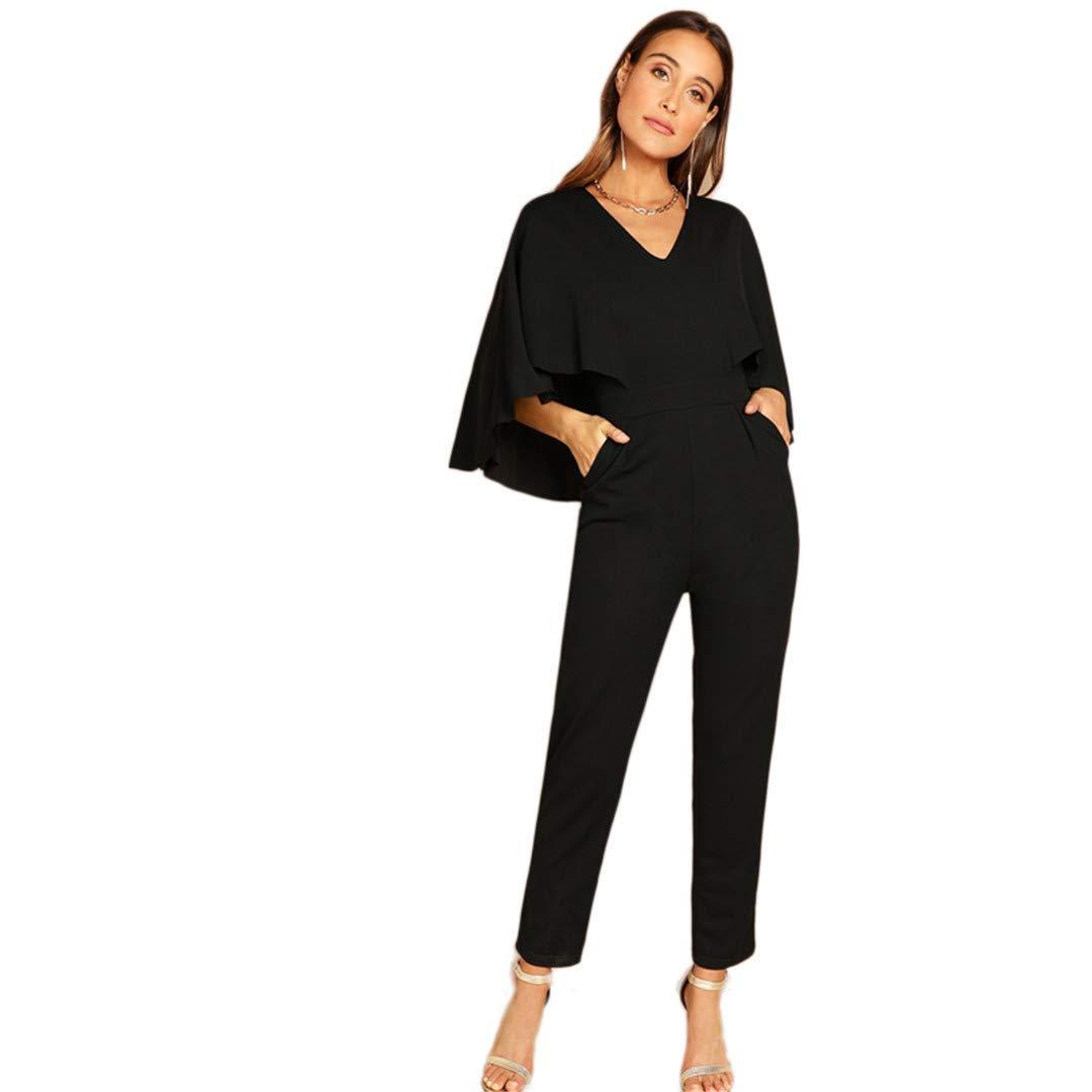 HENXIOJQZ Lady Party Black Elegant V-Neck Solid Cape Long Sleeve Cloak Sleeve Jumpsuit Winter Women Jumpsuits