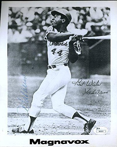 hank-aaron-signed-photograph-vintage-magnavox-certed-8x10-authentic-jsa-certified-autographed-mlb-ph