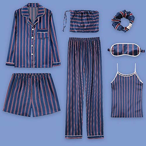 M Mujer Sexy Pantalones Seda Piezas Simulación De Pijamas Informal Cabestrillo Verano Seda Traje Siete Para Servicio Xl Hielo Hogar Baujuxing Pijama Rwz0zx