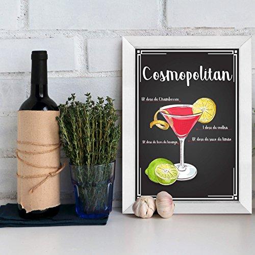 Quadro Bebida Cosmopolitan 22x32cm Moldura Branca