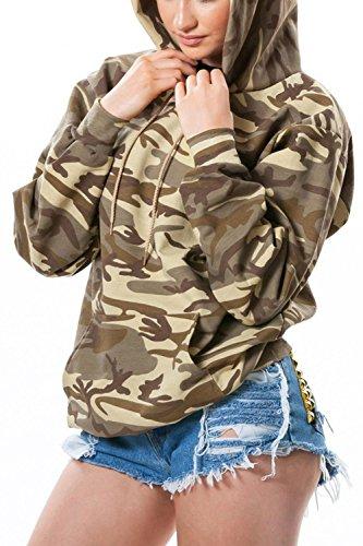 Épais Femme Sweat À Pour Capuche Hauts Maillot Camouflage D'hiver Jaunes ww0xHq7