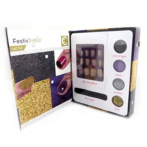Les Trésors De Lily [L9217] - Nail bar cabinet 'Festiv'ongles' golden gray black purple. by Unknown