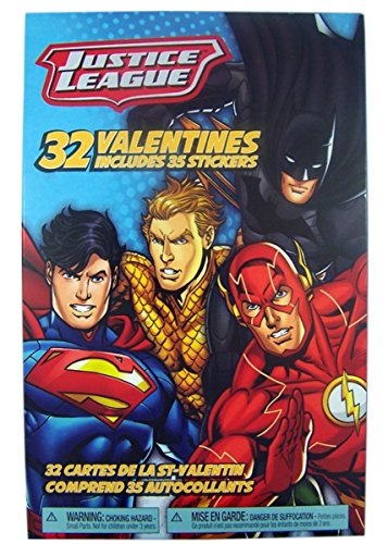 Justice League Super Heros Valentines Day Cards with Stickers, 32 Count