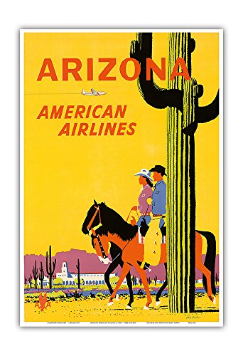 Arizona - American Airlines - Riders on Horseback - Saguaro Cactus, State Flower of Arizona - Vintage Airline Travel Poster by Fred Ludekens c.1960s - Master Art Print - 13in x 19in